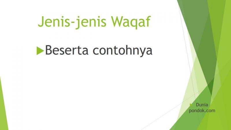 jenis-jenis waqaf